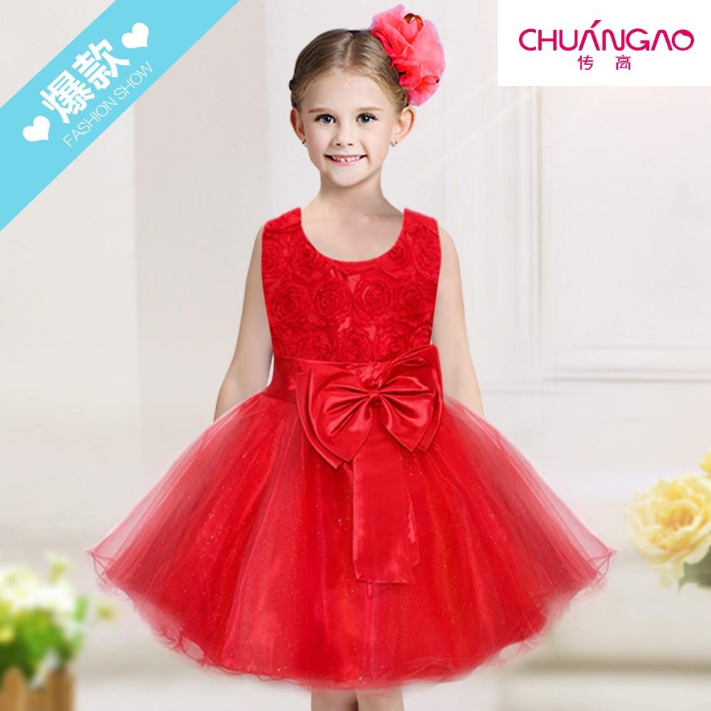 儿童礼服新款立体玫瑰蕾丝花童连衣裙演出公主裙童装直销